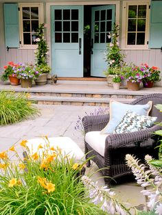 & Easy Exterior Fixes Robins egg blue adds a pop of personality to this pretty patio.Robins egg blue adds a pop of personality to this pretty patio. Outdoor Rooms, Outdoor Living, Outdoor Decor, Outdoor Furniture, Porches, Front Door Design, Saint Tropez, Cottage, Better Homes And Gardens