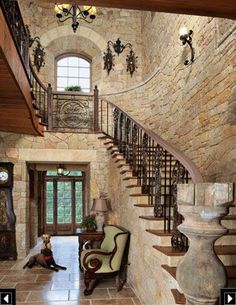 Stone walls in homes are beautiful. ♥ Loved and pinned by www.landmark-granite.com