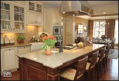 Love two colors on cabinets but mostly I want this island!! from SOVIEW HOMES