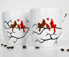 Hand Painted Love Birds With Baby Bird & Nest Coffee Mugs - Pair Of 2 - Personalized by Mary Elizabeth Arts on Gourmly