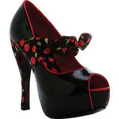 Bettie Page Logan - Black with FREE Shipping & Returns. The Logan is a 5  peep toe pump with contrasting cherry knot fabric.
