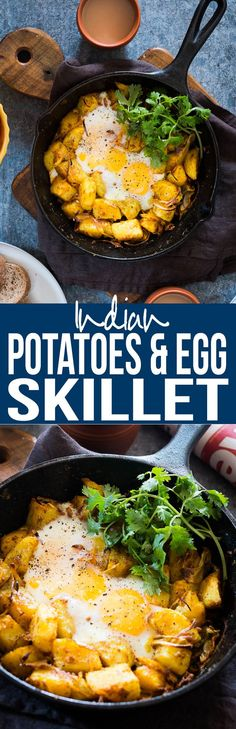 Spiced Indian Potatoes and Eggs cooked in a skillet for a easy holiday morning breakfast recipe.Crowd pleaser, kid friendly and gluten free. via @my_foodstory