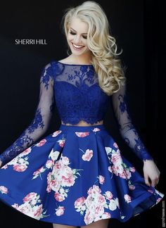 Obsessed. Two-piece + floral print = LOVE. Adorable cocktail dress for this Fall! | GGM - Glamour Gowns and More