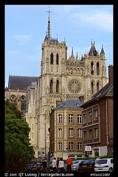 Houses and Cathedral, Amiens. France