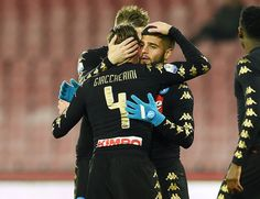 Emanuele Giaccherini and Lorenzo Insigne of SSC Napoli celebrate the 2-1 goal scored by Emanuele Giaccherini during the TIM Cup match between SSC Napoli and AC Spezia at Stadio San Paolo on January 10, 2017 in Naples, Italy.