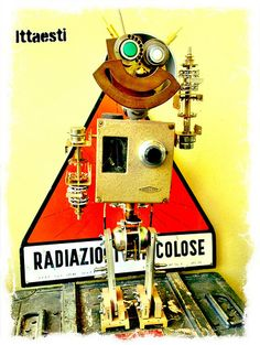 Regulator - Robot sculpture Made with found metal objects