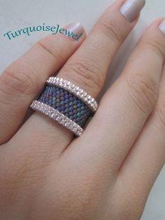 Gray Circle Ring, Peyote handmade jewelry, miyuki beaded hoop