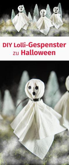 Gespenster zu Halloween aus Taschentüchern und Lollis Easy Peasy DIY auch als Cake Topper #diy #halloween #halloweenparty #crafts #ghost #geist