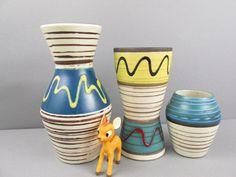 Vintage WGP Vasen Set, Scheurich , West Deutsche Keramik, Mid Century, 523-21, 244-17, handbemalt, 60er von ShabbRockRepublic auf Etsy