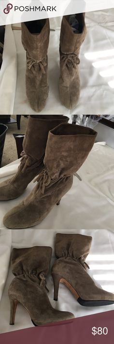 KATE SPADE SUEDE BOOTS Beautiful style and awesome taupe color... Pre ❤️ but great condition , suede on opening is a little darker than the rest of boot , markings from been used but no major damage . kate spade Shoes Ankle Boots & Booties