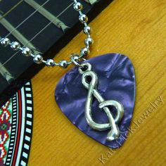 Treble Clef on Purple Pearl/Pearloid Guitar Pick Necklace