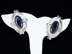 Victorian Revival Earrings - Clip on Designer Signed Whiting and Davis Earrings - Oval Cameo Hematite - Silver Tone Vintage 1960's