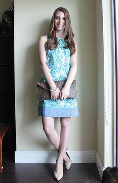 Ann Taylor paisley border shift dress