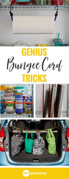 Time to pull that pile of bungee cords out of your garage and put them to good use! Here are 9 surprising ways you can use bungee cords to secure your stuff, get more organized, and much more! #lifehacks #tipsandtricks #organize