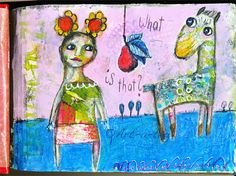 Art Journal page, collage, acrylics and stamp (Rubber Dance). Title: What is that?