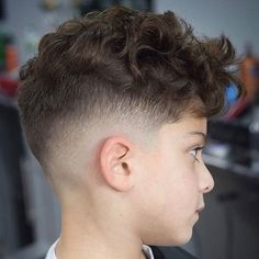 Messy Curly Hair with Mid Fade