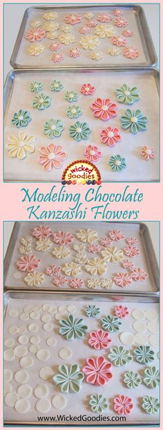 Modeling Chocolate Kanzashi Flowers - a folded technique for cake decorating by Wicked Goodies