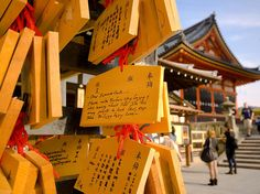 Prayers from visitors from all over the world hang outside a temple in Kyoto.  [Photo by Belinda Mark, My Shot]
