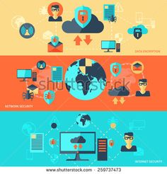 Network internet security banner set with data encryption elements isolated vector illustration