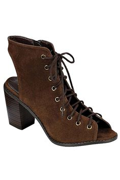 LACE-UP CUTOUT ANKLE BOOTIES- Brown