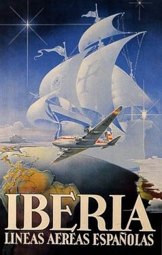 IBERIA AIRPLANE PLANE GLOBE SAILBOAT EUROPE TRAVEL TOURISM SPAIN VINTAGE POSTER REPRO by WONDERFULITEMS, http://www.amazon.com/dp/B001TPSMB4/ref=cm_sw_r_pi_dp_LSvhqb0HPXVSP