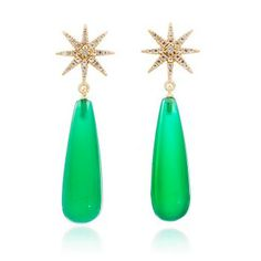 Northern Star Long Drop with Green Onyx and White Topaz Earrings