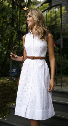 Summer Style // White eyelet midi shirt dress sundress with brown slides {boden, marc jacobs, hinge, matisse, classic style, summer style}