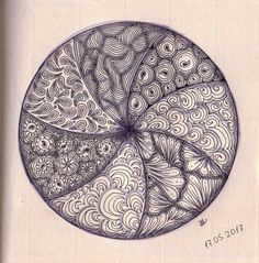 Zendala 044.  (Skillshare) Creative Ideas To Improve Your Drawing Skills Project - All together in one wheel.