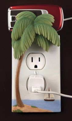 13 Premium Cell Phone Chargers For Iphone Phone Chargers For Galaxy Switch Plate Covers, Light Switch Plates, Light Switch Covers, Phone Charger Holder, Cell Phone Holder, Palm Tree Lights, Palm Trees, Clay Plates, Biscuit