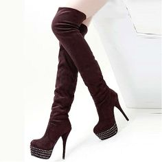 Womens Boots | Beautiful Suede Rhinestone Brown Round Closed Toe Stiletto Super High Heel Boots - Hugshoes.com