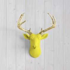 The MINI Virginia Yellow Faux Taxidermy Resin Deer Head Wall Mount | Yellow Stag w/ Colored Antlers