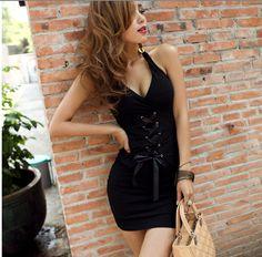 Sexy Deep V-Neckline Laced Front Elastic Cotton Mini Halter Dress For Women (BLACK) China Wholesale - Sammydress.com