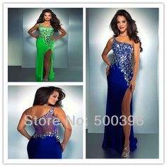 Sparkle Rhinestone One Shoulder Side Slit Lime Green Royal Blue Chiffon Long Prom Dress Sexy See Through Evening Gown 2013