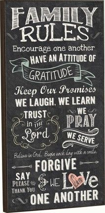Distinguish your home, office, or church with this elegant piece of Board Mounted Wall Art. Comes ready to hang and full of inspiration.  Inscription: Family Rules: Encourage one another. Have an attitude of gratitude. Keep our promises. We laugh, we learn. Trust in the Lord. We pray, we serve. Believe in God. Begin each day with a smile. Forgive. Say please & thank you. We love one another.