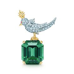 Tiffany & Co. -  Schlumberger mini Bird on a Rock clip with a tourmaline in platinum.