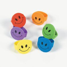 These Foam Smile Face Rings make terrific party favors, Halloween treats, classroom incentives or carnival prizes. Each pack includes 144 smiley face rings in assorted bright colors and measure across. Craft Work For Kids, Creative Activities For Kids, Crafts For Kids, Foam Crafts, Craft Stick Crafts, Diy And Crafts, Paper Crafts, Craft Sticks, Superhero Party Favors
