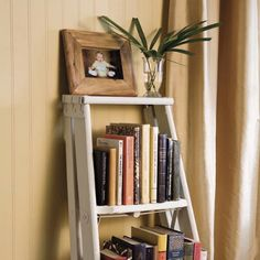 wood ladders for decorating | Old ladders make convenient wall shelves for small indoor plants ...