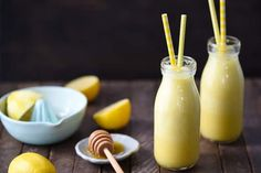 1 cup Low Fat French Vanilla Yogurt 1 cup Ice Cubes 2 tablespoons Fresh Lemon Juice 2 tablespoons Honey 1 tablespoon Grated Fresh Ginger 2 teaspoons Grated Lemon Zest 1/8 teaspoon Ground Turmeric Directions In blender, combine all ingredients; blend until smooth. Serve immediately.