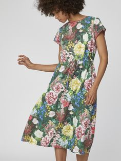Turn Heads with These 18 Bold, Eco-Friendly Special Occasion Dresses, Jumpsuits, and Statement Pieces Ethical Clothing, Floral Midi Dress, Jumpsuit Dress, Comfortable Outfits, Special Occasion Dresses, Green Dress, Cotton Dresses, Dress To Impress, Floral Prints