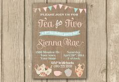 Tea for two invite Tea for 2 invitation by DulceGracePrintables