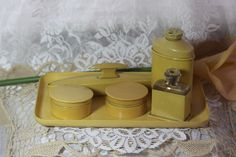 Celluloid Dresser Set. Starting at $20