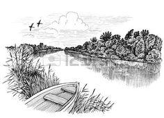 paysage rivière: Été rive paysage, dessin à l'encre Banque d'images