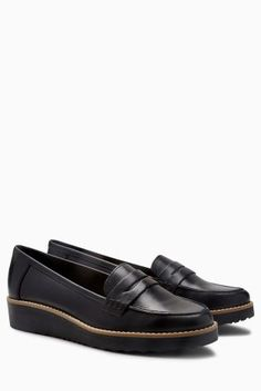 Black Leather EVA Loafers