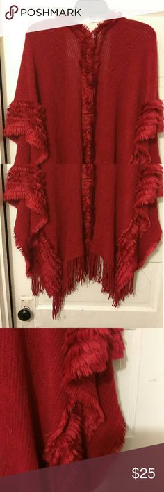 Red cape Simply beautiful with the red sheen an fur accents throughout the sweater cape Jackets & Coats Capes