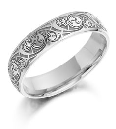 Celtic Wedding Ring – Mens Gold Celtic Spiral Triskel Irish Wedding Band