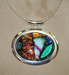 Stained Glass Oval Contemporary Silver Dichroic by Imakeglass, $37.00