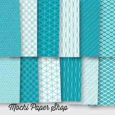 Digital Paper / Teal & White Geometric Patterns by MochiPaperShop, $3.00