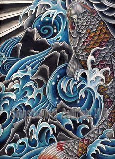 Koi in Waterfall art print by Sebastian Orth by OtherworldTattoo