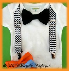Baby Boy Clothes - Black Chevron Suspenders Black Bow Tie - Baby Birthday Outfit - Boy Coming Home Outfit - Infant Boy Tuxedo by NoahsBoytiques on Etsy https://www.etsy.com/listing/156853502/baby-boy-clothes-black-chevron