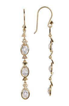 Melinda Maria - Nadia Pave Triangle Drop Earrings